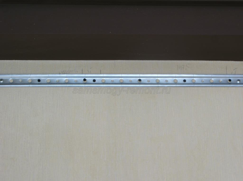 установка планки для навешивания шкафчиков