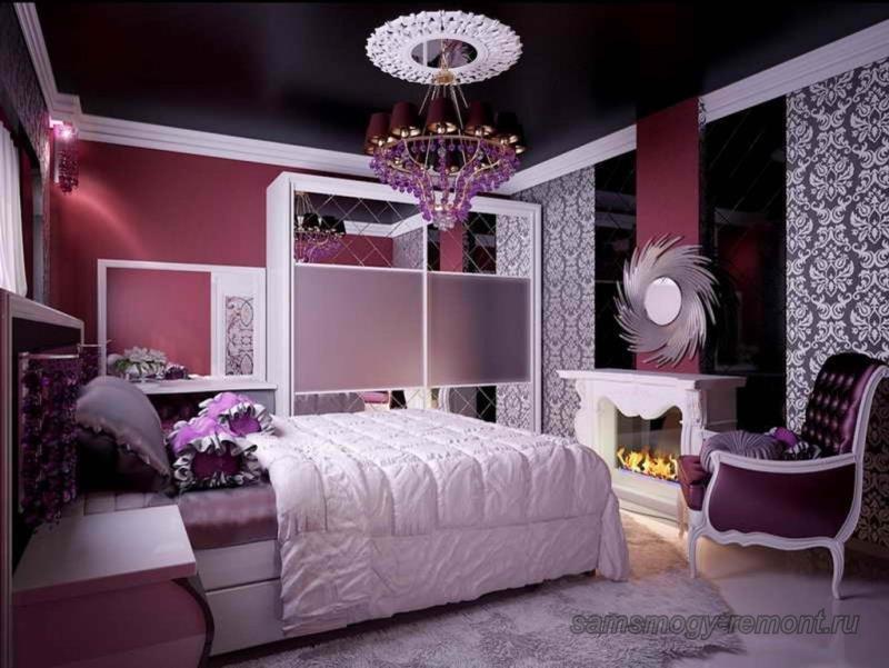 Благородное сочетание обоев в элегантной спальне