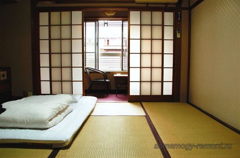 Подходящая текстура для пола, стен, перегородок в японской спальне