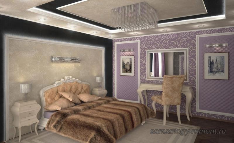 Удачный проект по сочетанию обоев в спальне