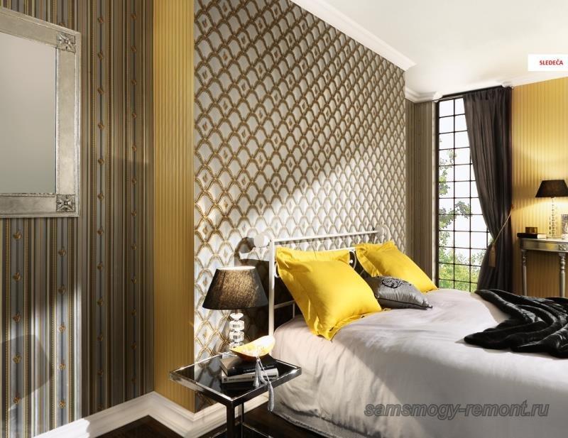 Роскошное декорирование спальни коллекционными обоями