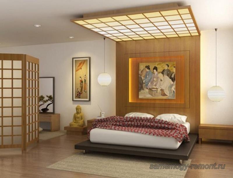Японские абажуры в спальне