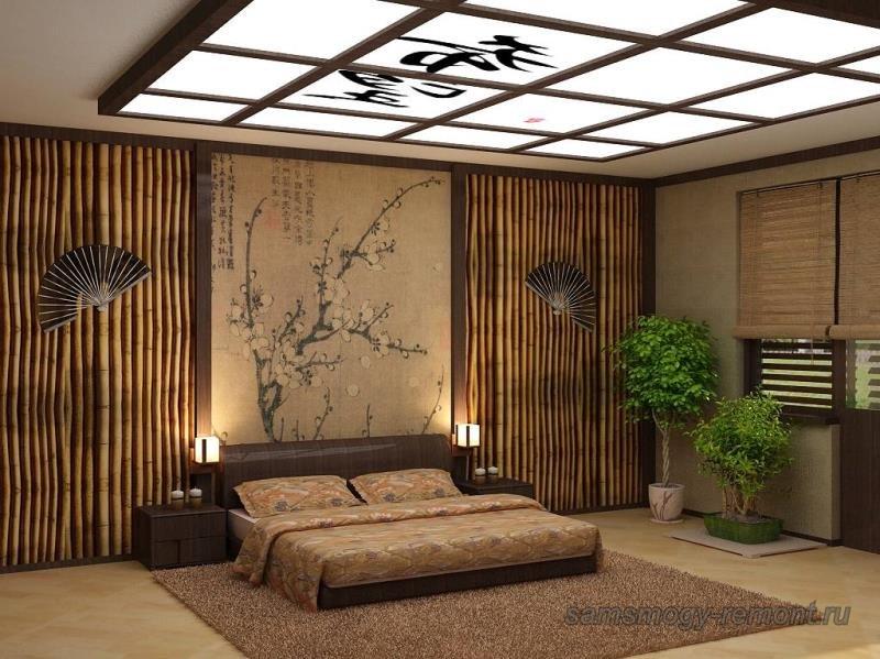 Натуральные цвета японской спальни