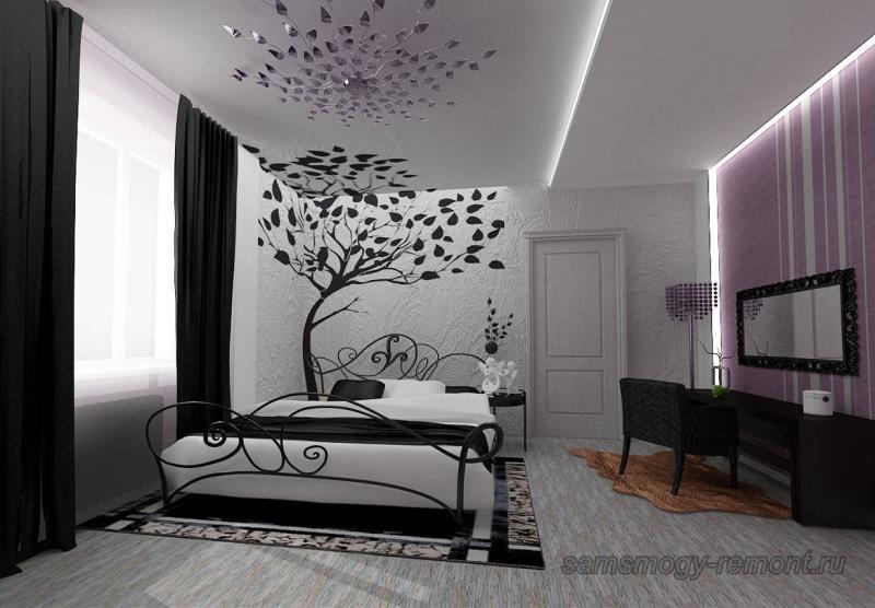 Ансамбль различных структур обоев в просторной спальне