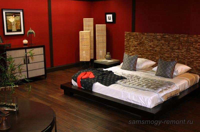 Красное и черное в японской спальне