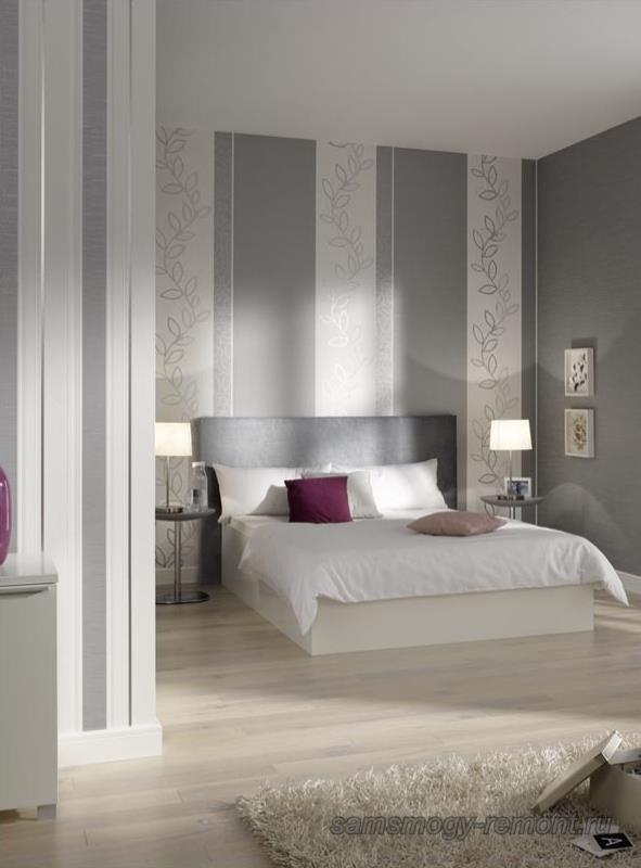 Визуальный подъем потолков спальни вертикальными полосами