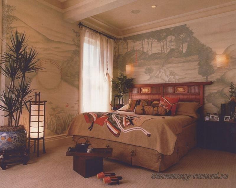 Роскошная спальня в японском стиле