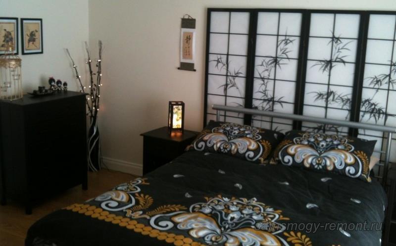 Черно-белая спальня в японском стиле