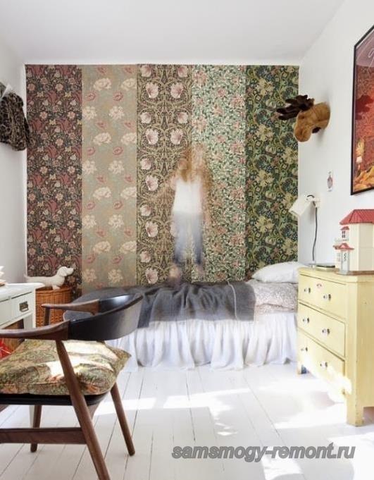 Встречается и такое комбинирование обоев в спальне