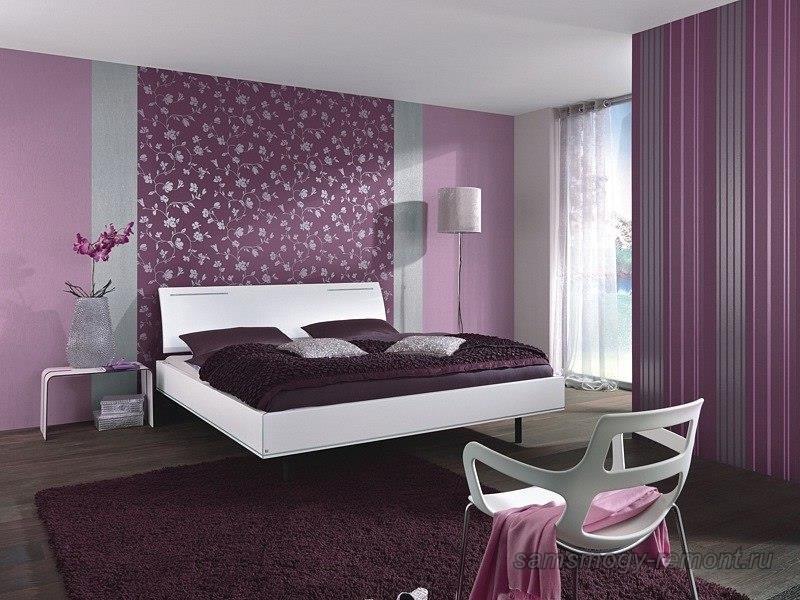Красивый проект с сочетанием обоев в спальне