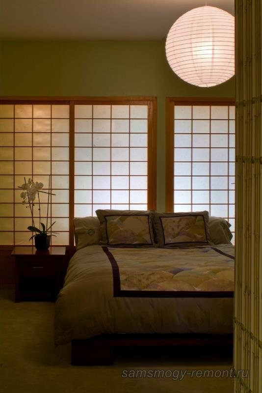 Оформление спальни с помощью фусума