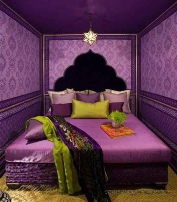 Визуальное удлинение спальни продуманным сочетанием обоев