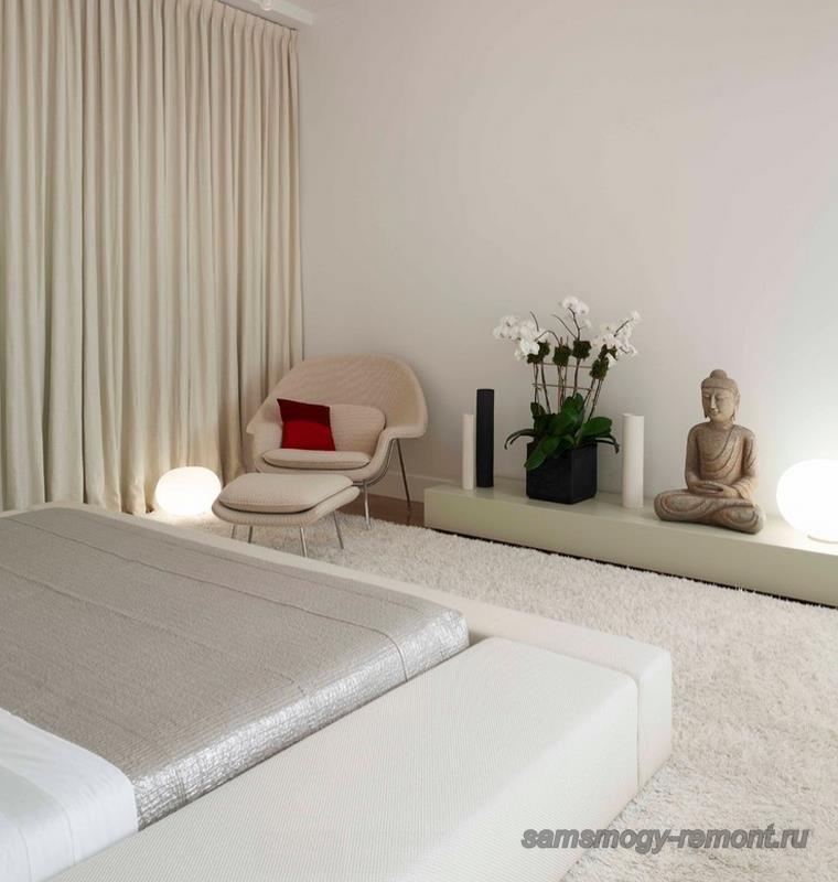 Белый цвет японской кровати