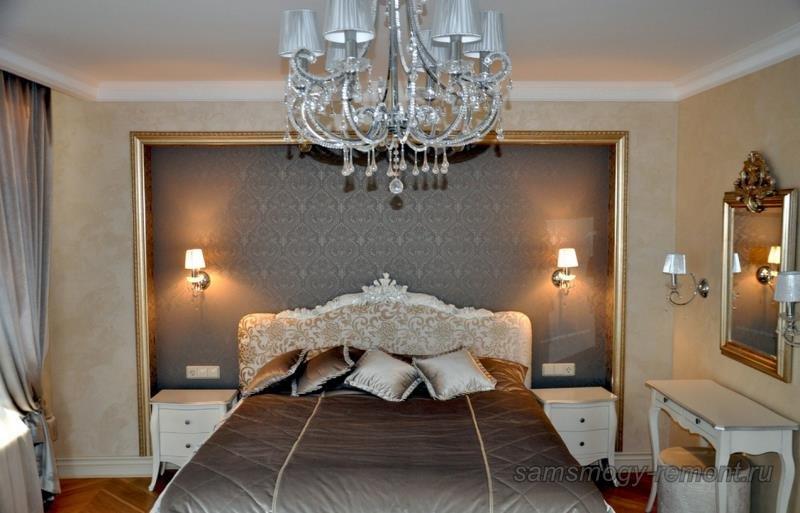 Превосходная работа дизайнеров по оформлению основной стены спальни