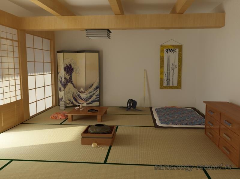 Универсальная японская комната с футоном