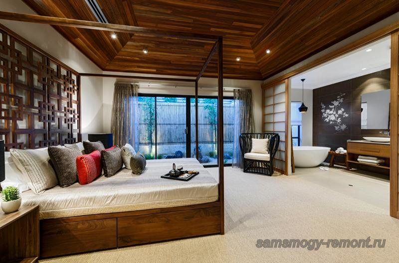 Кровать с использованием японской геометрии