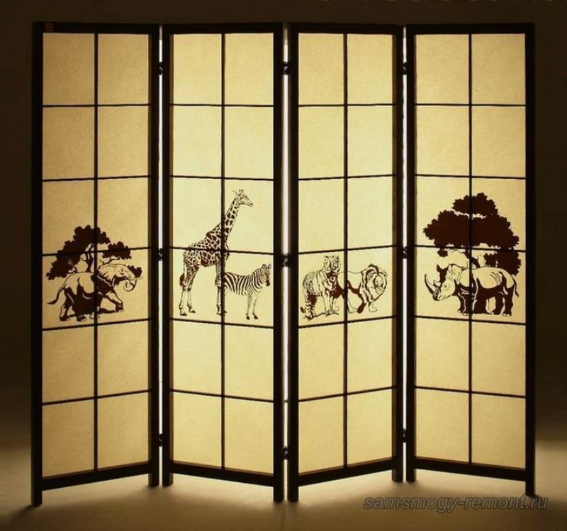 Дизайнерская фантазия с изображением на японской ширме африканской фауны