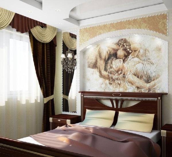 оформление стены в спальне