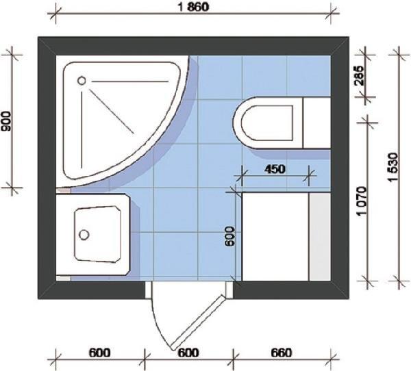 расстановка сантехники в квадратном помещении
