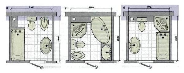 примеры размещения сантехники