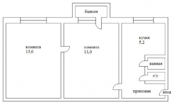 схема двухкомнатной хрущевки с проходной комнатой